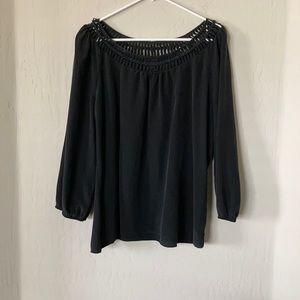 White House Black Market Long Sleeved Silk Blouse
